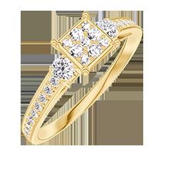 Anello Create 209725 Oro giallo 18 carati - Cluster di diamanti naturali Principessa equivalente 0.5 - Pietre laterali Diamante - Incastonatura Diamante