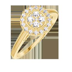 Anello Create 211401 Oro giallo 18 carati - Cluster di diamanti naturali rotondo equivalente 0.5 - Halo Diamante