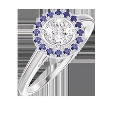 Anello Create 211435 Oro bianco 18 carati - Cluster di diamanti naturali rotondo equivalente 0.5 - Halo Zaffiro blu