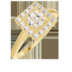 Anello Create 211449 Oro giallo 18 carati - Cluster di diamanti naturali Principessa equivalente 0.5 - Halo Diamante