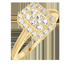 Anello Create 211497 Oro giallo 18 carati - Cluster di diamanti naturali Rettangolo equivalente 0.5 - Halo Diamante