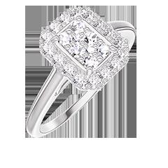 Anello Create 211499 Oro bianco 18 carati - Cluster di diamanti naturali Rettangolo equivalente 0.5 - Halo Diamante