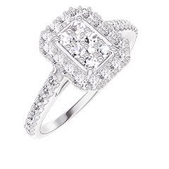Anello Create 211503 Oro bianco 18 carati - Cluster di diamanti naturali Rettangolo equivalente 0.5 - Halo Diamante - Incastonatura Diamante