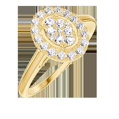 Anello Create 211545 Oro giallo 18 carati - Cluster di diamanti naturali Ovale equivalente 0.5 - Halo Diamante
