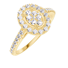 Anello Create 211549 Oro giallo 18 carati - Cluster di diamanti naturali Ovale equivalente 0.5 - Halo Diamante - Incastonatura Diamante