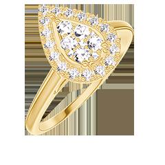 Anello Create 211593 Oro giallo 18 carati - Cluster di diamanti naturali Goccia equivalente 0.5 - Halo Diamante