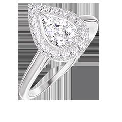 Anello Create 211595 Oro bianco 18 carati - Cluster di diamanti naturali Goccia equivalente 0.5 - Halo Diamante