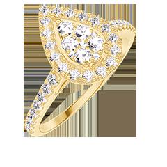 Anello Create 211597 Oro giallo 18 carati - Cluster di diamanti naturali Goccia equivalente 0.5 - Halo Diamante - Incastonatura Diamante