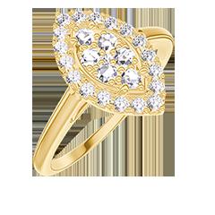 Anello Create 211641 Oro giallo 18 carati - Cluster di diamanti naturali Marchesa equivalente 0.5 - Halo Diamante