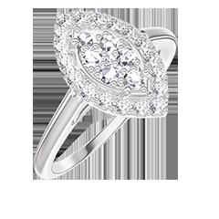 Anello Create 211643 Oro bianco 18 carati - Cluster di diamanti naturali Marchesa equivalente 0.5 - Halo Diamante