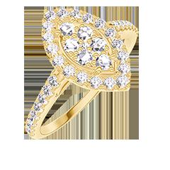 Anello Create 211645 Oro giallo 18 carati - Cluster di diamanti naturali Marchesa equivalente 0.5 - Halo Diamante - Incastonatura Diamante
