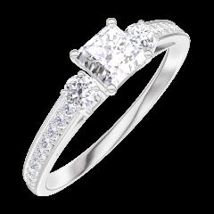 Anello Create Engagement 160127 Oro bianco 18 carati - Diamante Principessa 0.3 Carati - Pietre laterali Diamante - Incastonatura Diamante