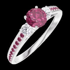 Anello Create Engagement 160632 Oro bianco 9 carati - Rubino Rotondo 0.3 Carati - Pietre laterali Diamante - Incastonatura Rubino
