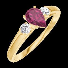 Anello Create Engagement 161021 Oro giallo 18 carati - Rubino Goccia 0.3 Carati - Pietre laterali Diamante