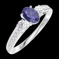 Anello Create Engagement 161528 Oro bianco 9 carati - Zaffiro blu Ovale 0.3 Carati - Pietre laterali Diamante - Incastonatura Diamante