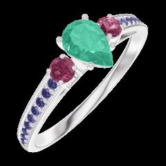 Anello Create Engagement 162255 Oro bianco 18 carati - Smeraldo Goccia 0.3 Carati - Pietre laterali Rubino - Incastonatura Zaffiro blu