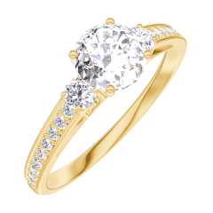 Anello Create Engagement 162426 Oro giallo 9 carati - Diamante naturale Rotondo 0.5 Carati - Pietre laterali Diamante naturale - Incastonatura Diamante naturale