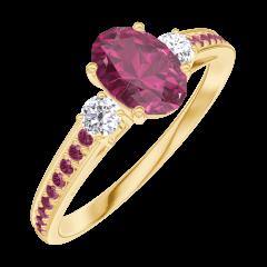 Anello Create Engagement 163329 Oro giallo 18 carati - Rubino Ovale 0.5 Carati - Pietre laterali Diamante naturale - Incastonatura Rubino