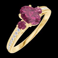 Anello Create Engagement 163346 Oro giallo 9 carati - Rubino Ovale 0.5 Carati - Pietre laterali Rubino - Incastonatura Diamante naturale