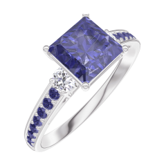 Anello Create Engagement 168535 Oro bianco 18 carati - Zaffiro blu Principessa 1 Carati - Pietre laterali Diamante - Incastonatura Zaffiro blu