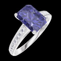 Anello Create Engagement 168608 Oro bianco 9 carati - Zaffiro blu Rettangolo 1 Carati - Incastonatura Diamante naturale