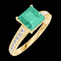 Anello Create Engagement 169105 Oro giallo 18 carati - Smeraldo Principessa 1 Carati - Incastonatura Diamante naturale