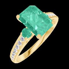 Anello Create Engagement 169285 Oro giallo 18 carati - Smeraldo Rettangolo 1 Carati - Pietre laterali Smeraldo - Incastonatura Diamante naturale