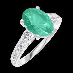 Anello Create Engagement 169327 Oro bianco 18 carati - Smeraldo Ovale 1 Carati - Pietre laterali Diamante - Incastonatura Diamante