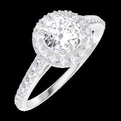 Anello Create Engagement 170008 Oro bianco 9 carati - Diamante Rotondo 0.5 Carati - Halo Diamante - Incastonatura Diamante
