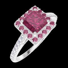 Anello Create Engagement 170360 Oro bianco 9 carati - Rubino Principessa 0.5 Carati - Halo Rubino - Incastonatura Diamante