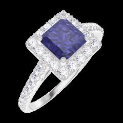 Anello Create Engagement 170632 Oro bianco 9 carati - Zaffiro blu Principessa 0.5 Carati - Halo Diamante naturale - Incastonatura Diamante naturale