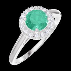 Anello Create Engagement 170868 Oro bianco 9 carati - Smeraldo Rotondo 0.5 Carati - Halo Diamante naturale