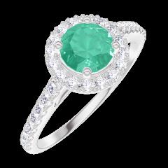 Anello Create Engagement 170872 Oro bianco 9 carati - Smeraldo Rotondo 0.5 Carati - Halo Diamante naturale - Incastonatura Diamante naturale