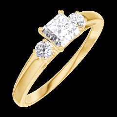 Anillo Create 160121 Oro amarillo 18 quilates - Diamante Princesa 0.3 quilates - Piedras laterales Diamante