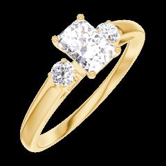 Anillo Create 160221 Oro amarillo 18 quilates - Diamante Rectángulo 0.3 quilates - Piedras laterales Diamante