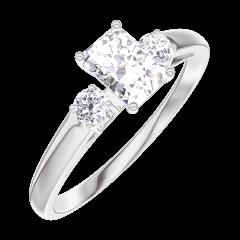Anillo Create 160223 Oro blanco 18 quilates - Diamante Rectángulo 0.3 quilates - Piedras laterales Diamante