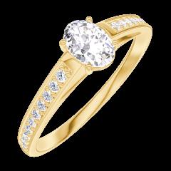 Anillo Create 160305 Oro amarillo 18 quilates - Diamante Ovalo 0.3 quilates - Engastado Diamante