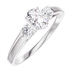Anillo Create 160323 Oro blanco 18 quilates - Diamante Ovalo 0.3 quilates - Piedras laterales Diamante