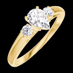 Anillo Create 160421 Oro amarillo 18 quilates - Diamante Pera 0.3 quilates - Piedras laterales Diamante