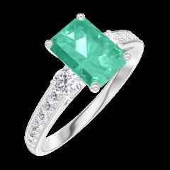 Anillo Create 166828 Oro blanco 9 quilates - Esmeralda Rectángulo 0.7 quilates - Piedras laterales Diamante - Engastado Diamante