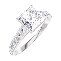 Anillo Create 167307 Oro blanco 18 quilates - Diamante Princesa 1 quilates - Engastado Diamante
