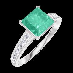 Anillo Create 169108 Oro blanco 9 quilates - Esmeralda Princesa 1 quilates - Engastado Diamante