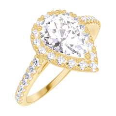 Anillo Create 170197 Oro amarillo 18 quilates - Diamante Pera 0.5 quilates - Halo Diamante - Engastado Diamante