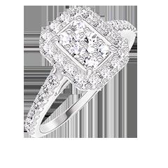 Anillo Create 211503 Oro blanco 18 quilates - Conjunto de diamantes naturales Rectángulo equivalente 0.5 - Halo Diamante - Engastado Diamante