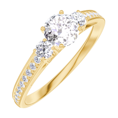 Anillo Create Engagement 160025 Oro amarillo 18 quilates - Diamante Redonda 0.3 quilates - Piedras laterales Diamante - Engastado Diamante