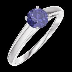 Anillo Create Engagement 161204 Oro blanco 9 quilates - Zafiro azul Redonda 0.3 quilates