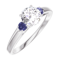 Anillo Create Engagement 162463 Oro blanco 18 quilates - Diamante Redonda 0.5 quilates - Piedras laterales Zafiro azul