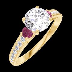 Anillo Create Engagement 164845 Oro amarillo 18 quilates - Diamante Redonda 0.7 quilates - Piedras laterales Rubí - Engastado Diamante