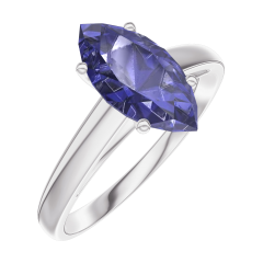 Anillo Create Engagement 168904 Oro blanco 9 quilates - Zafiro azul Marquesa 1 quilates