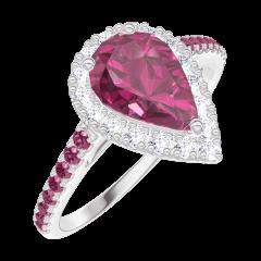 Anillo Create Engagement 170491 Oro blanco 18 quilates - Rubí Pera 0.5 quilates - Halo Diamante - Engastado Rubí